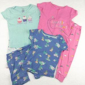 Lot of Three Carter's 2T Cotton Pajamas